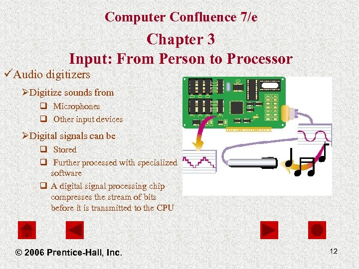 Computer Confluence 7/e Chapter 3 Input: From Person to Processor üAudio digitizers ØDigitize sounds