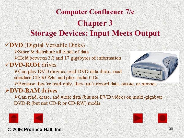 Computer Confluence 7/e Chapter 3 Storage Devices: Input Meets Output üDVD (Digital Versatile Disks)