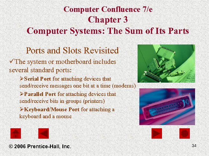 Computer Confluence 7/e Chapter 3 Computer Systems: The Sum of Its Parts Ports and