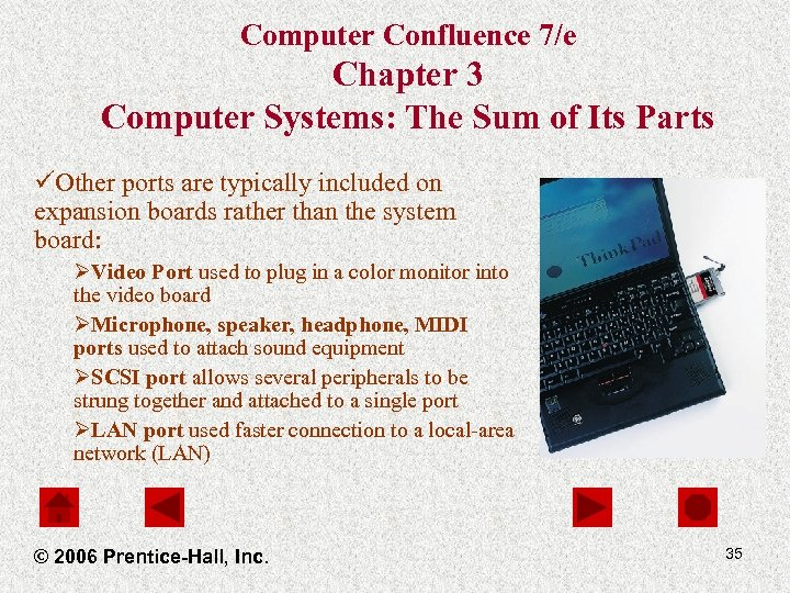 Computer Confluence 7/e Chapter 3 Computer Systems: The Sum of Its Parts üOther ports