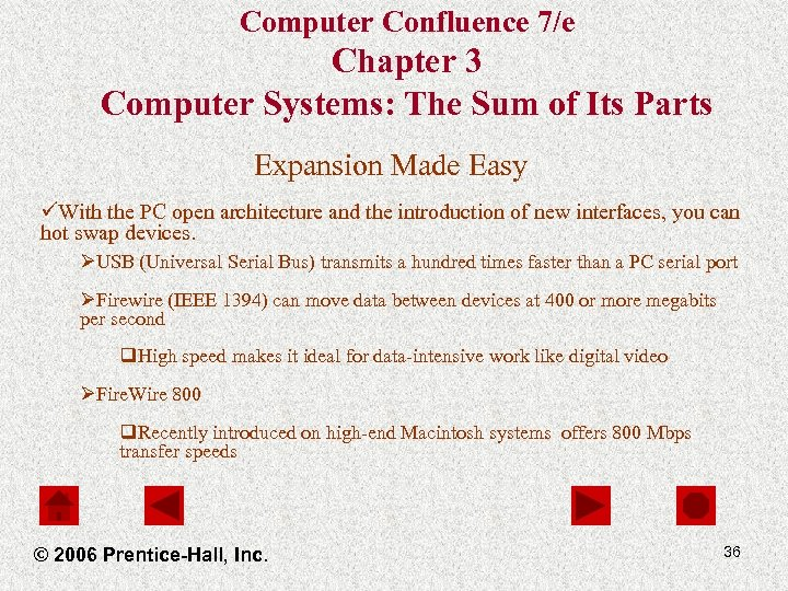 Computer Confluence 7/e Chapter 3 Computer Systems: The Sum of Its Parts Expansion Made