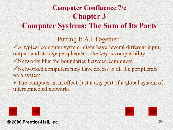 Computer Confluence 7/e Chapter 3 Computer Systems: The Sum of Its Parts Putting It