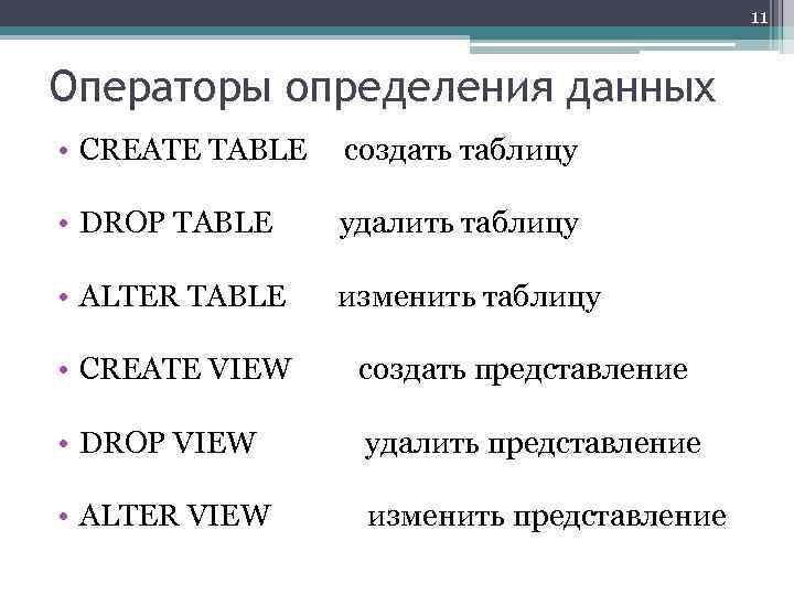 11 Операторы определения данных • CREATE TABLE создать таблицу • DROP TABLE удалить таблицу