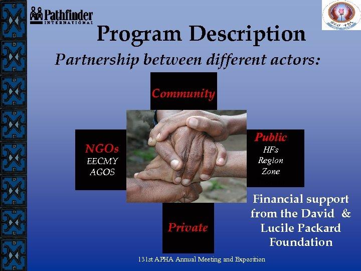 Program Description Partnership between different actors: Community Public NGOs HFs Region Zone Woreda EECMY