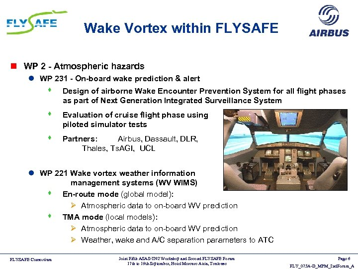Wake Vortex within FLYSAFE n WP 2 - Atmospheric hazards l WP 231 -