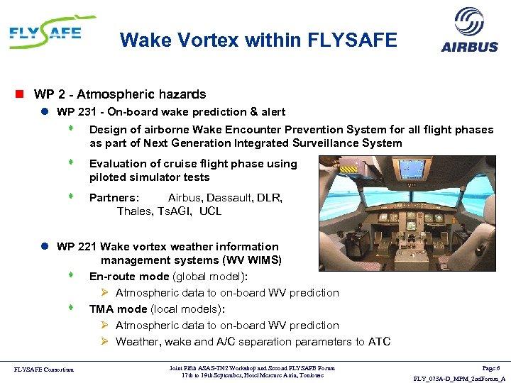 Wake Vortex within FLYSAFE n WP 2 - Atmospheric hazards l WP 231 -