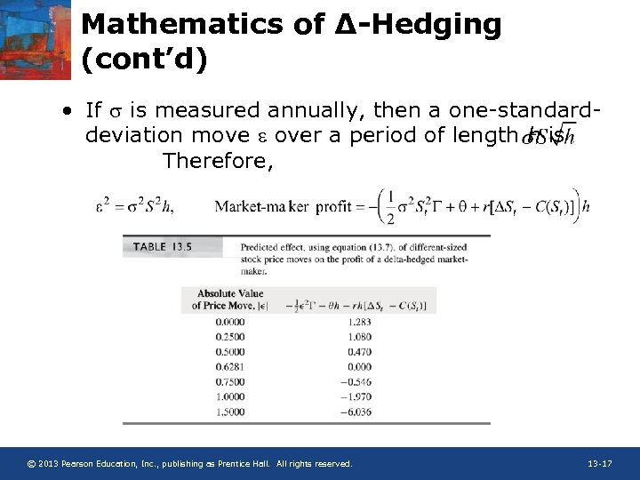 Mathematics of ∆-Hedging (cont'd) • If s is measured annually, then a one-standarddeviation move
