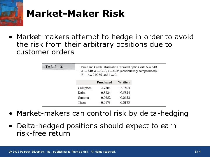 Market-Maker Risk • Market makers attempt to hedge in order to avoid the risk