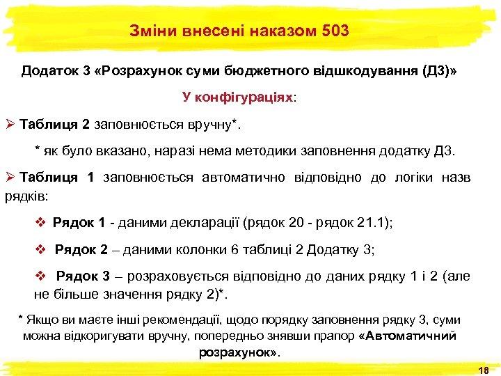 Зміни внесені наказом 503 Додаток 3 «Розрахунок суми бюджетного відшкодування (Д 3)» У конфігураціях: