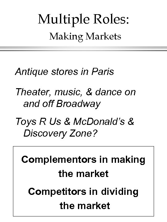 Multiple Roles: Making Markets Antique stores in Paris Theater, music, & dance on and