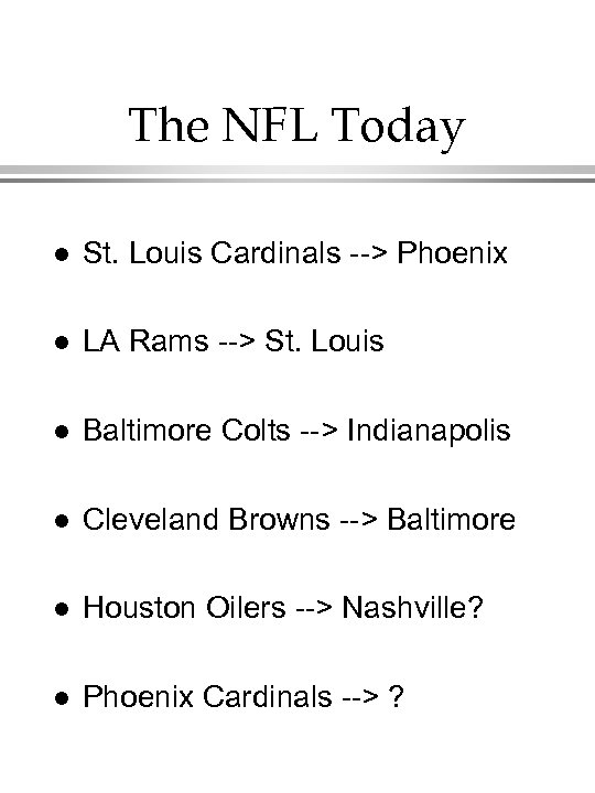 The NFL Today l St. Louis Cardinals --> Phoenix l LA Rams --> St.