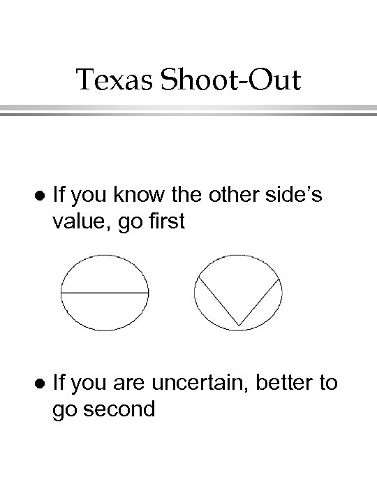 Texas Shoot-Out l If you know the other side's value, go first l If