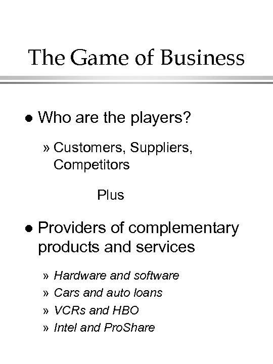 The Game of Business l Who are the players? » Customers, Suppliers, Competitors Plus