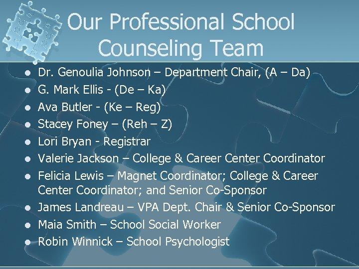 Our Professional School Counseling Team l l l l l Dr. Genoulia Johnson –