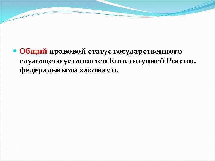 Общий правовой статус государственного служащего установлен Конституцией России, федеральными законами.
