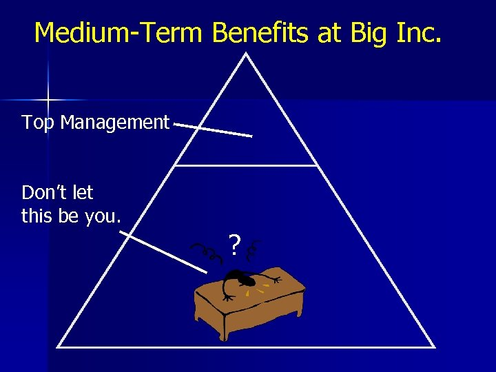 Medium-Term Benefits at Big Inc. Top Management Don't let this be you ?