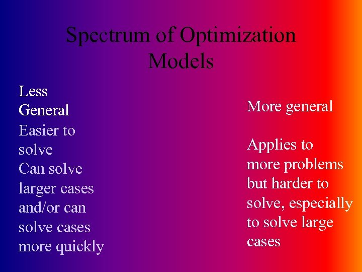 Spectrum of Optimization Models Less General Easier to solve Can solve larger cases and/or