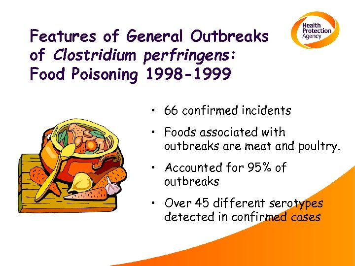 Features of General Outbreaks of Clostridium perfringens: Food Poisoning 1998 -1999 • 66 confirmed