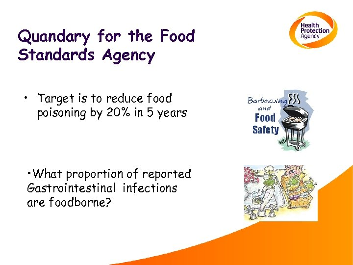 Quandary for the Food Standards Agency • Target is to reduce food poisoning by