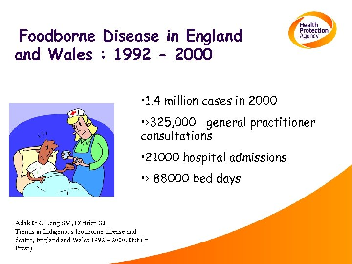 Foodborne Disease in England Wales : 1992 - 2000 • 1. 4 million cases