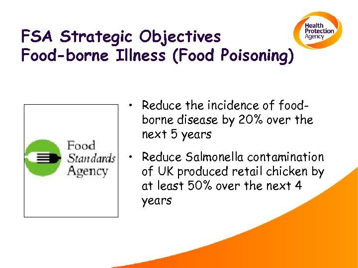 FSA Strategic Objectives Food-borne Illness (Food Poisoning) • Reduce the incidence of foodborne disease