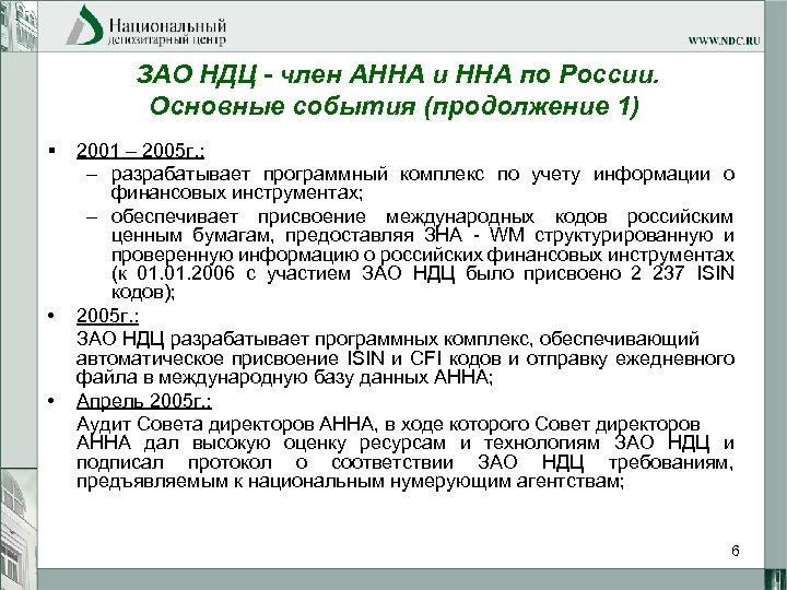 ЗАО НДЦ - член АННА и ННА по России. Основные события (продолжение 1) §