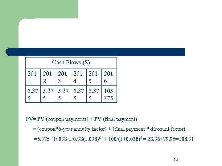 Cash Flows ($) 201 201 201 1 2 3 4 5 6 5. 37