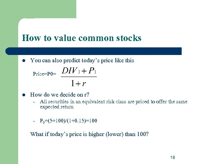 How to value common stocks l You can also predict today's price like this