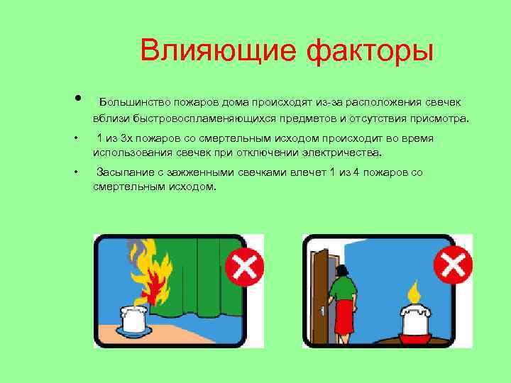Влияющие факторы • Большинство пожаров дома происходят из-за расположения свечек вблизи быстровоспламеняющихся предметов и