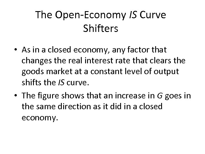 The Open-Economy IS Curve Shifters • As in a closed economy, any factor that