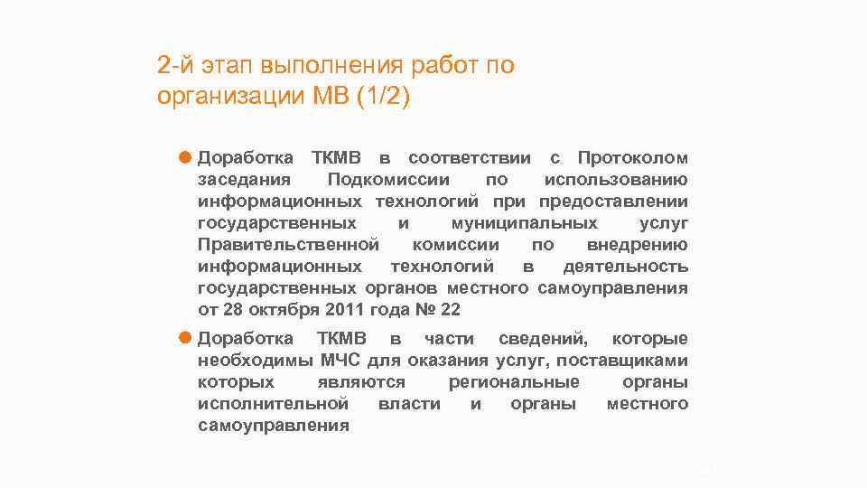 2 -й этап выполнения работ по организации МВ (1/2) Доработка ТКМВ в соответствии с
