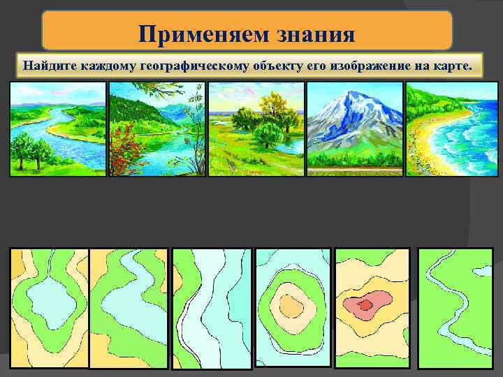 Применяем знания Найдите каждому географическому объекту его изображение на карте.