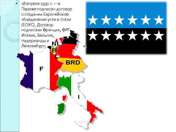 18 апреля 1951 г. — в Париже подписан договор о создании Европейскою объединения