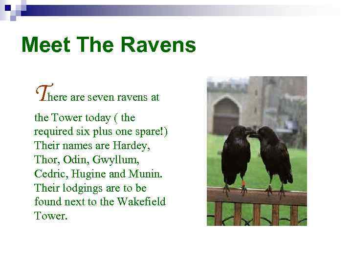 Meet The Ravens There are seven ravens at the Tower today ( the required