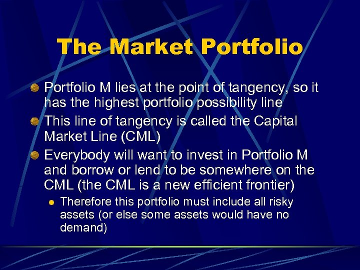 The Market Portfolio M lies at the point of tangency, so it has the
