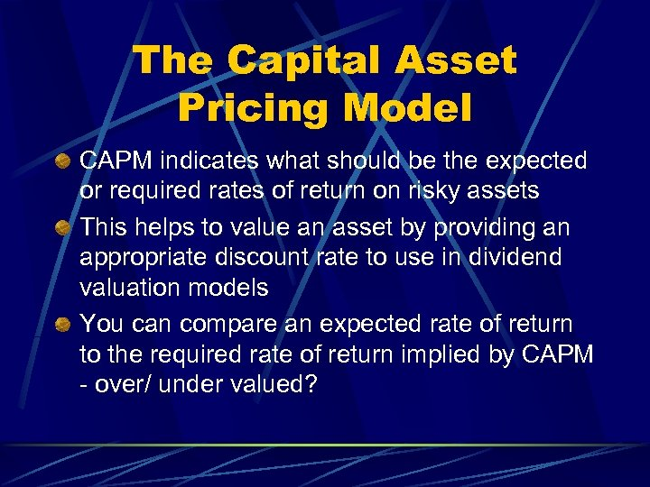 The Capital Asset Pricing Model CAPM indicates what should be the expected or required