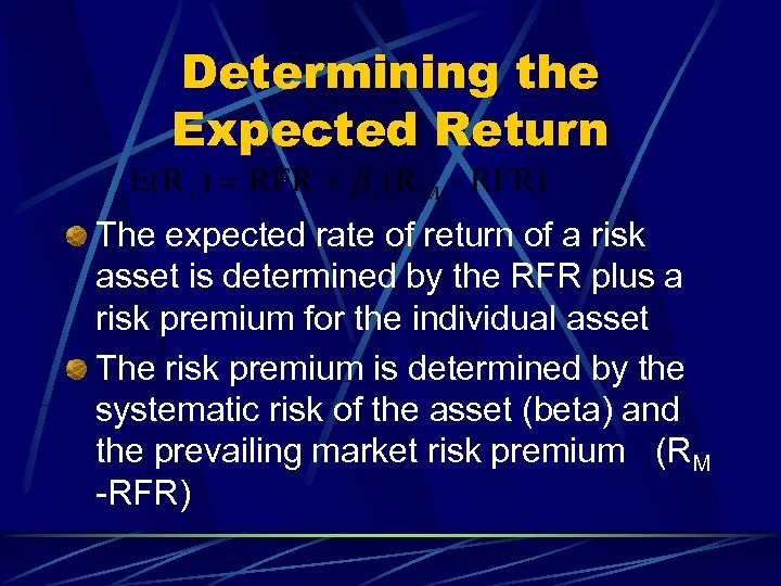 Determining the Expected Return The expected rate of return of a risk asset is