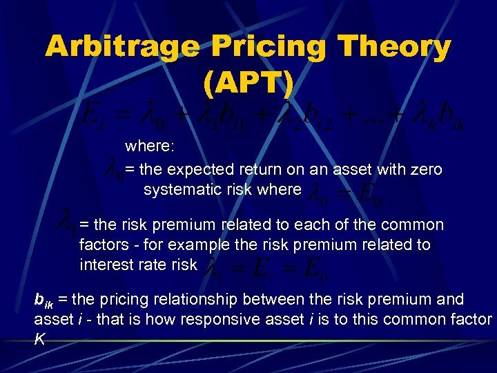 Arbitrage Pricing Theory (APT) where: = the expected return on an asset with zero