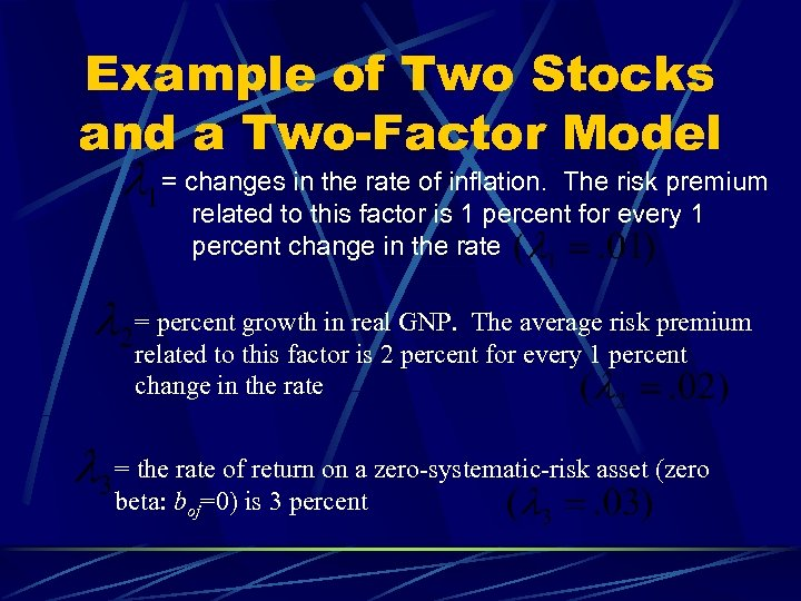 Example of Two Stocks and a Two-Factor Model = changes in the rate of