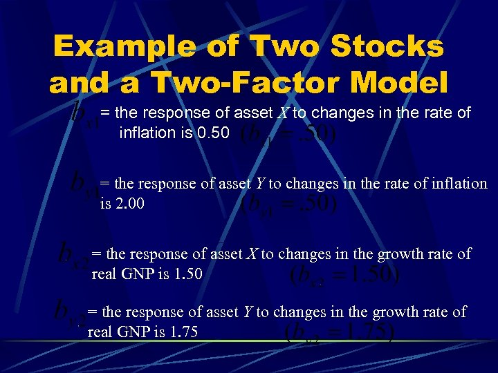 Example of Two Stocks and a Two-Factor Model = the response of asset X