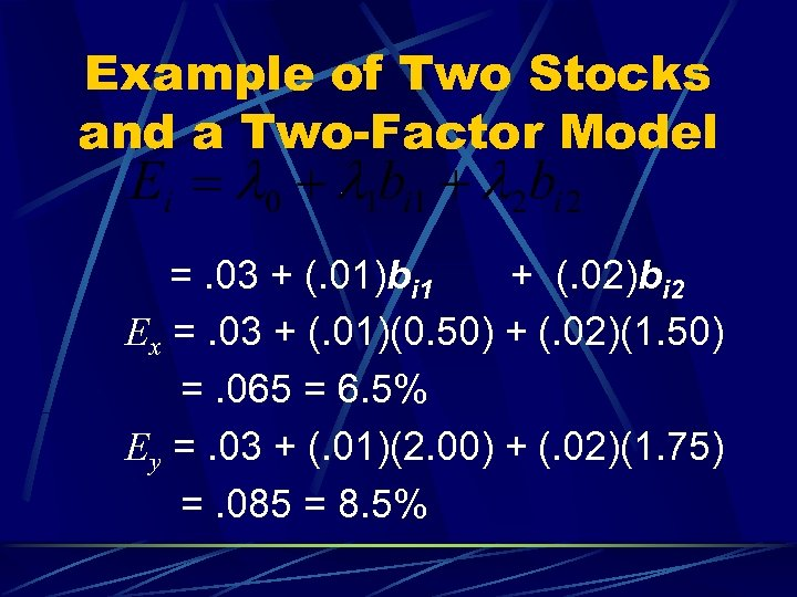 Example of Two Stocks and a Two-Factor Model =. 03 + (. 01)bi 1