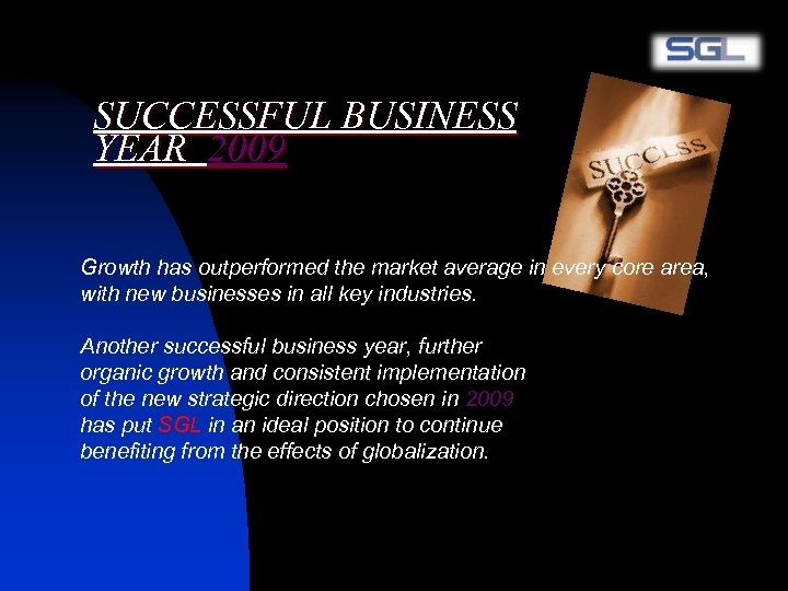 SUCCESSFUL BUSINESS YEAR 2009 Growth has outperformed the market average in every core area,
