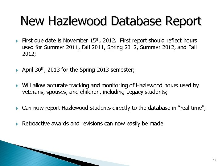 New Hazlewood Database Report First due date is November 15 th, 2012. First report