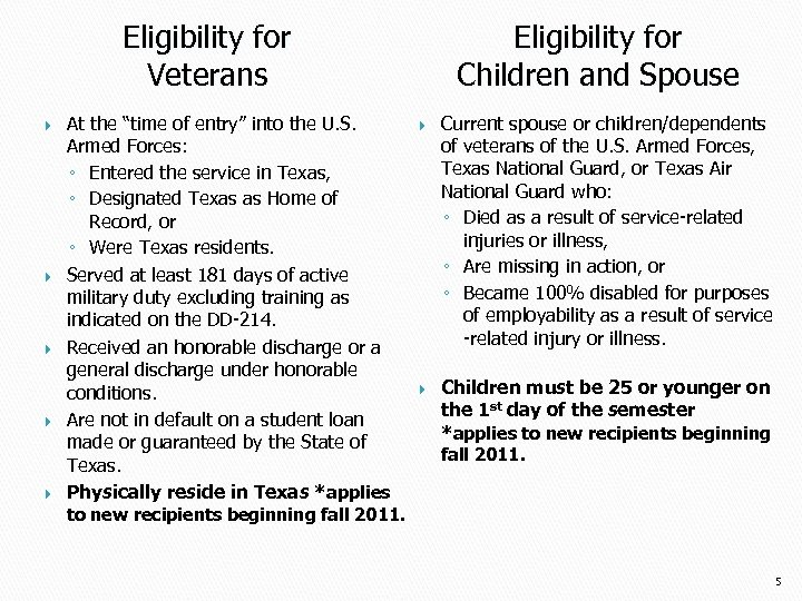 "Eligibility for Veterans At the ""time of entry"" into the U. S. Armed Forces:"
