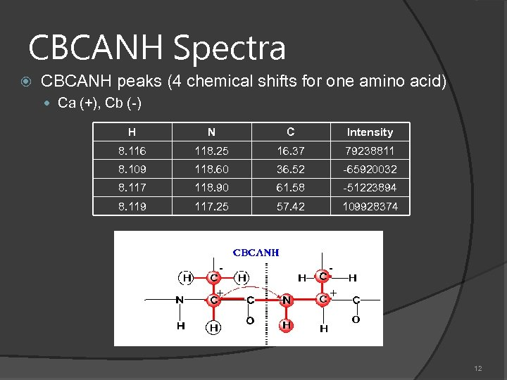 CBCANH Spectra CBCANH peaks (4 chemical shifts for one amino acid) Ca (+), Cb