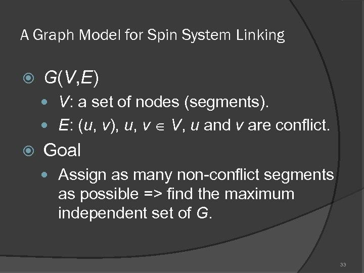 A Graph Model for Spin System Linking G(V, E) V: a set of nodes