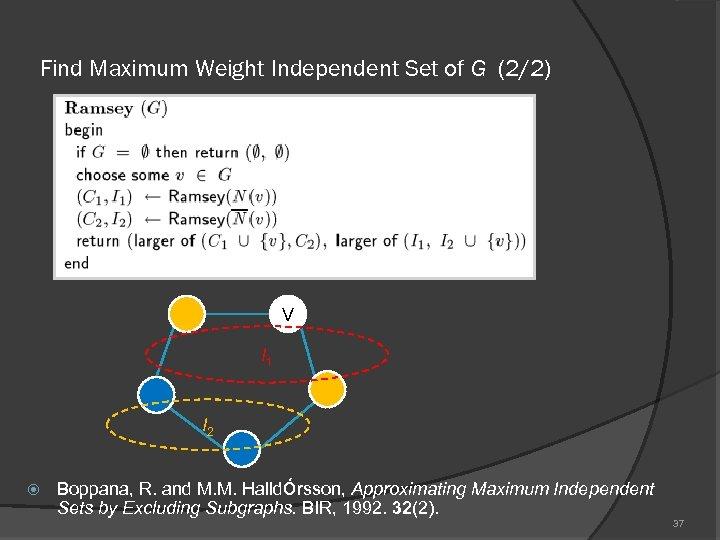 Find Maximum Weight Independent Set of G (2/2) V I 1 I 2 Boppana,