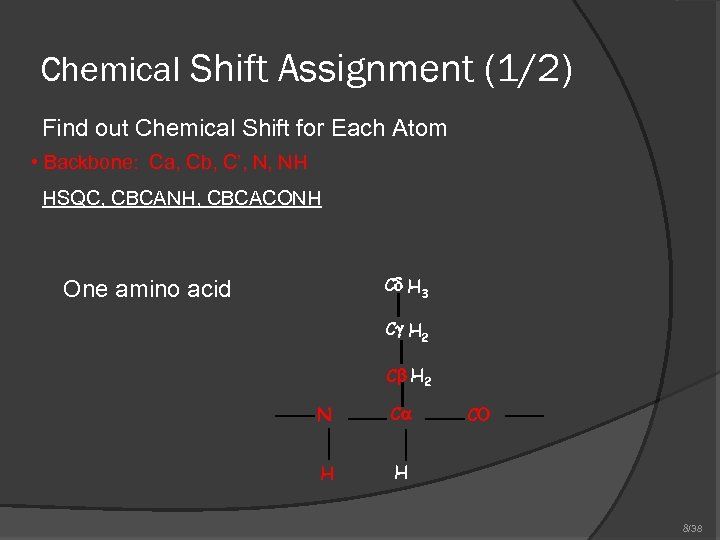 Chemical Shift Assignment (1/2) Find out Chemical Shift for Each Atom • Backbone: Ca,