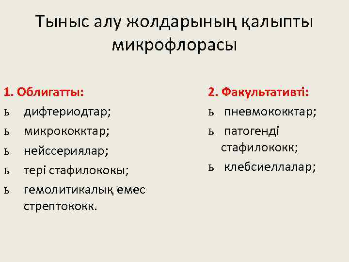 Тыныс алу жолдарының қалыпты микрофлорасы 1. Облигатты: ь дифтериодтар; ь микрококктар; ь нейссериялар; ь
