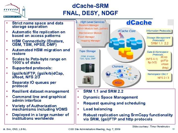 d. Cache-SRM FNAL, DESY, NDGF • • • Strict name space and data storage